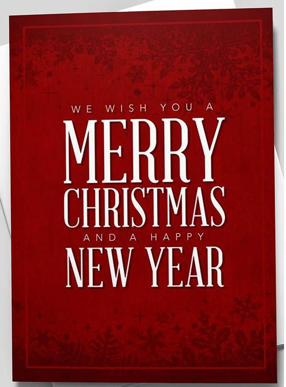 Ruby Merry Christmas & Happy New Year Greeting Card