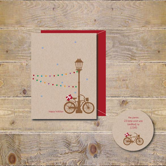 Rustic Christmas Holiday Card Template - $18