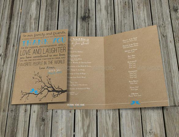 Rustic Wedding Program Template For Download