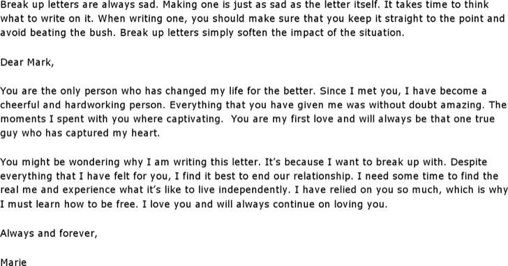 Sad Break Up Letter