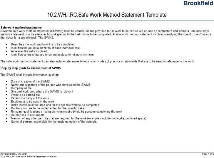 Safe Work Method Statement Template  Method Statement Template Doc