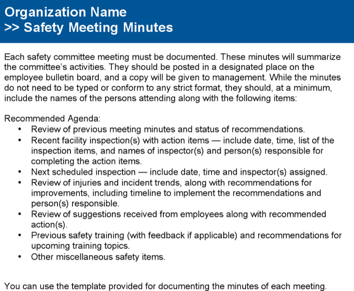 Safety Committee Meeting Agenda Template