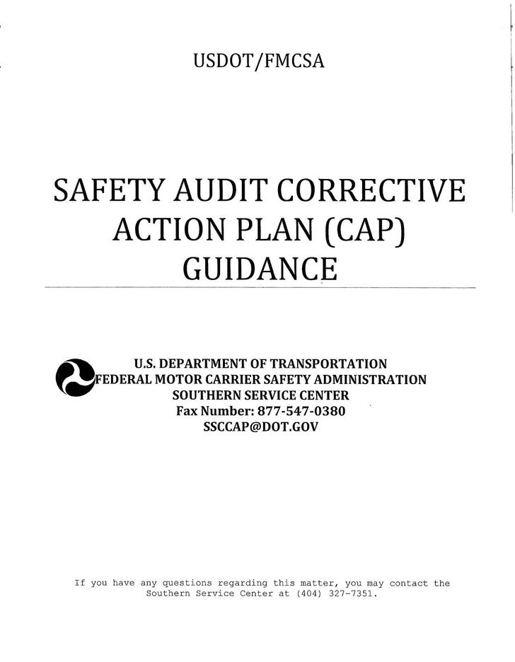 Safety Corrective Action Plan Template