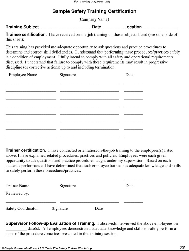Safety Training Certificate Template