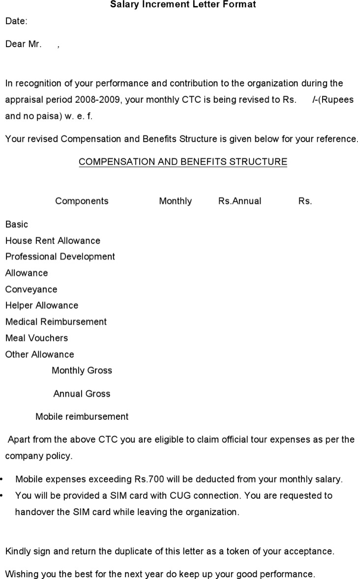 increment letter1 annual increment letter template date name – Salary Application Format