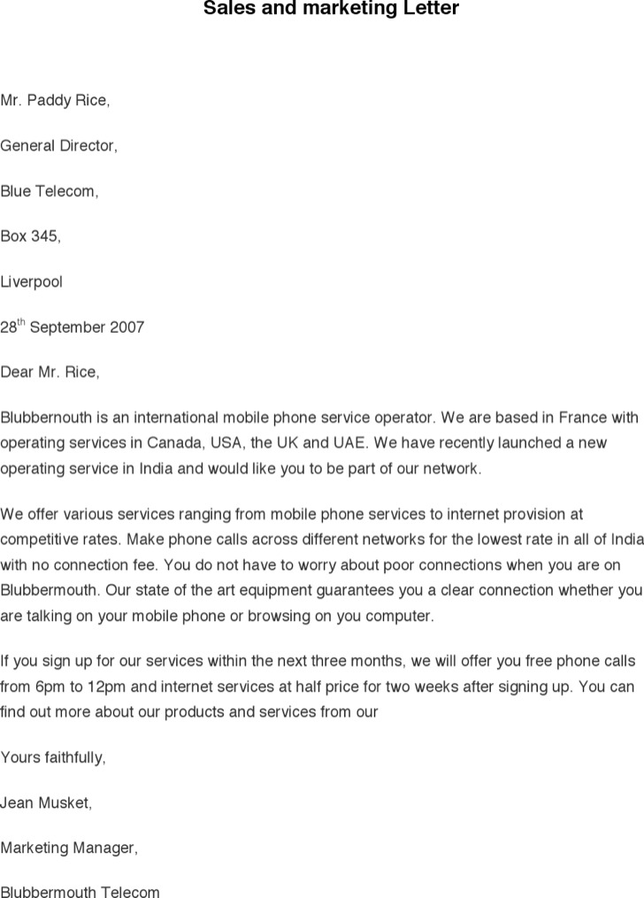 Sales And Marketing Letter