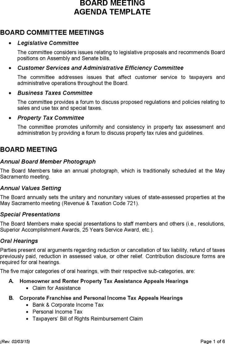 Budget Meeting Agenda Templates – Sample Sales Meeting Agenda