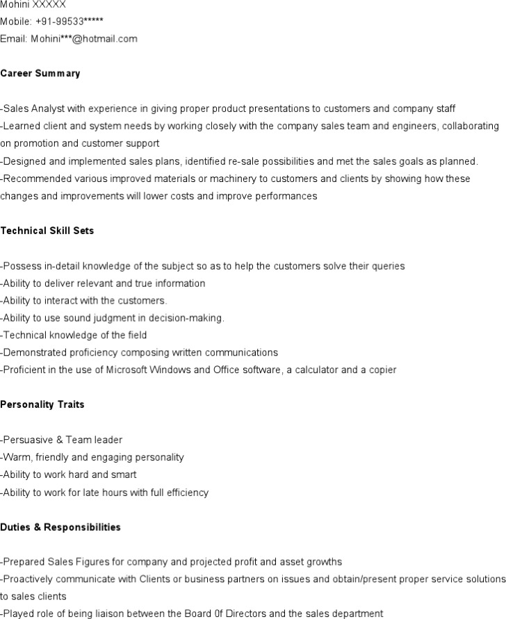 marketing analyst resume template download free