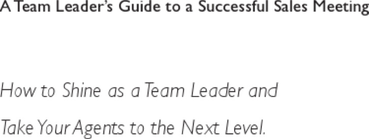 Sales Meeting Agenda Template For Leader