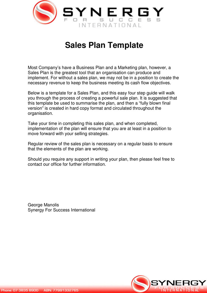 Sales Plan Template 2