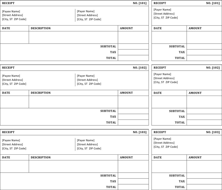 sales receipt template free download