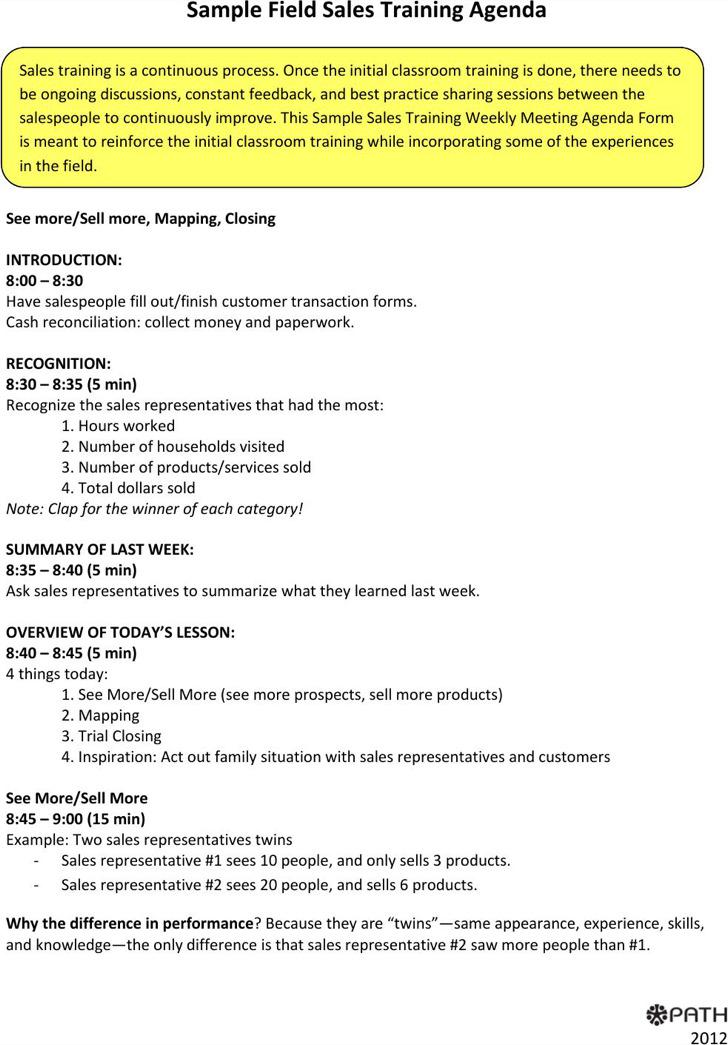 Sales Training Agenda Template