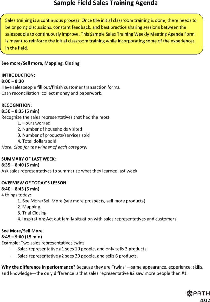 Sales Meeting Agenda Template – Agenda Forms