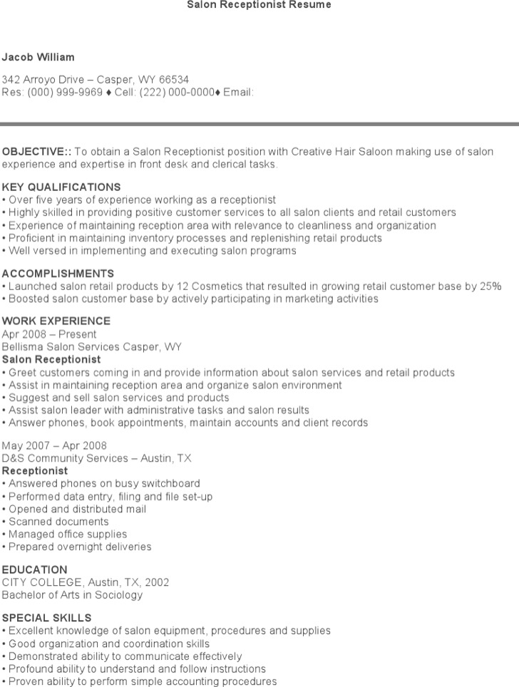 7  receptionist resume templates free download