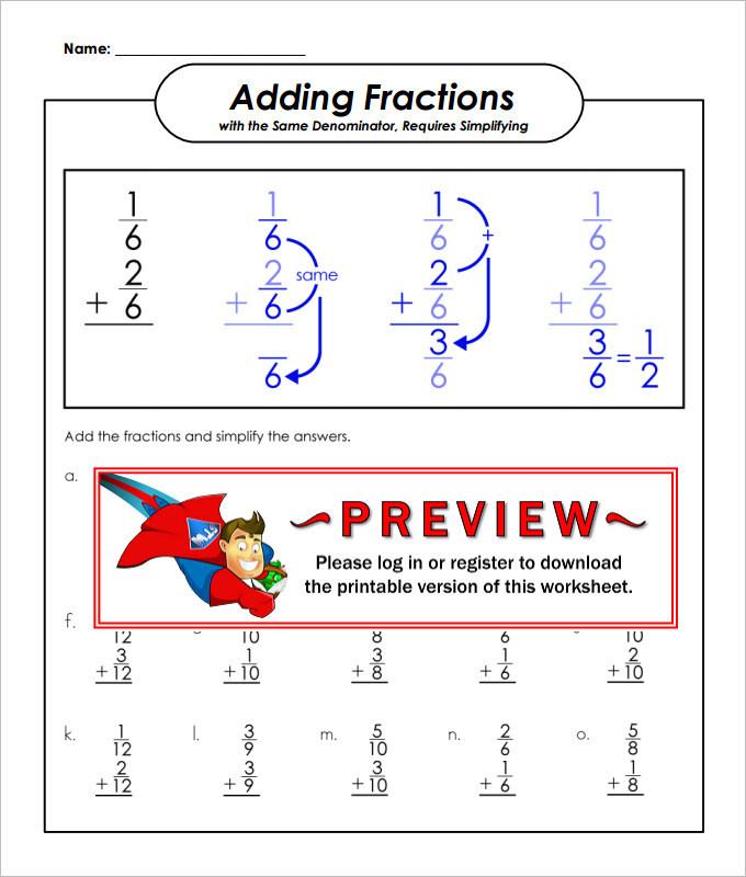 Same Denominator Adding Fractions Worksheet Template
