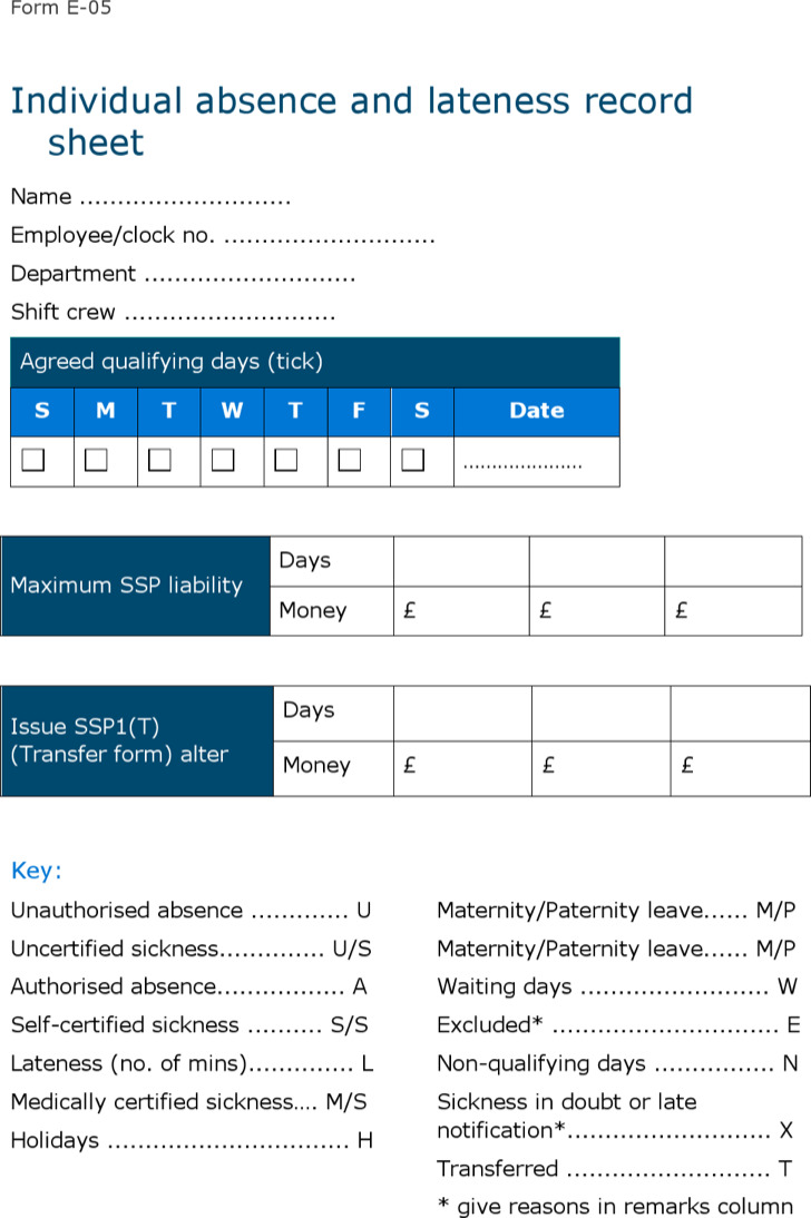 Sample Absence Record Sheet Template