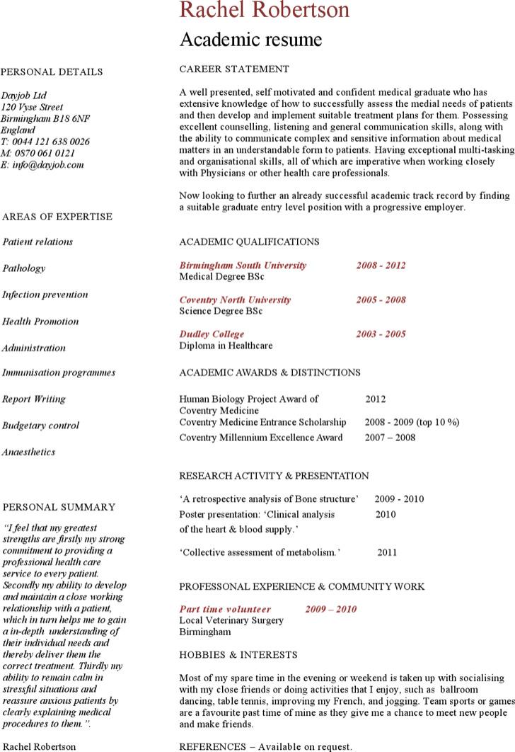 Sample Academic Resume Template
