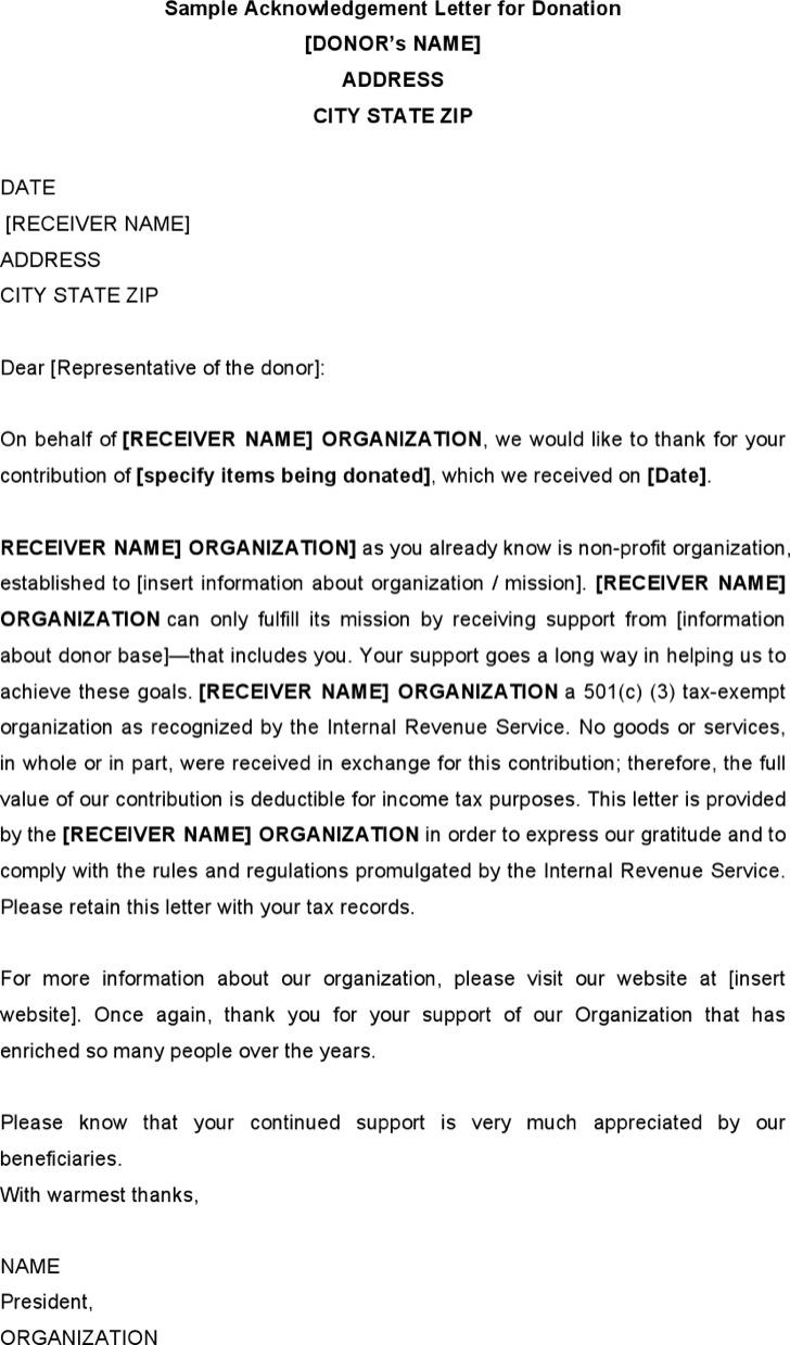 Sample Acknowledgement Letter For Donation