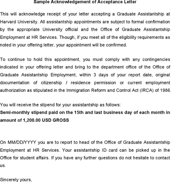 Sample Acknowledgement Of Acceptance Letter