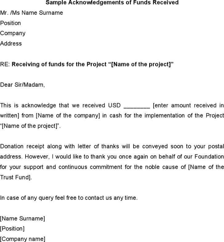Sample Acknowledgements Of Funds Received
