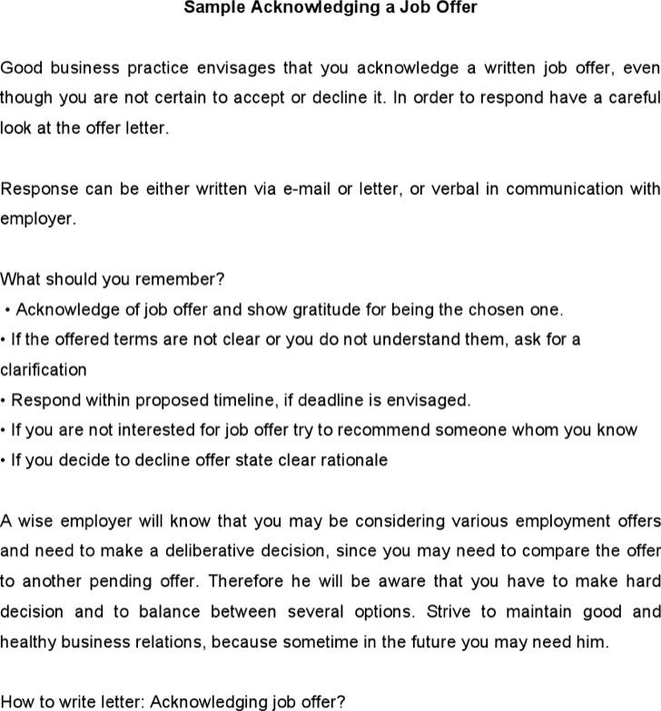 Sample Acknowledging A Job Offer