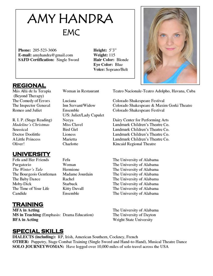 Acting Resume Template Free Acting Resume Template Download Free