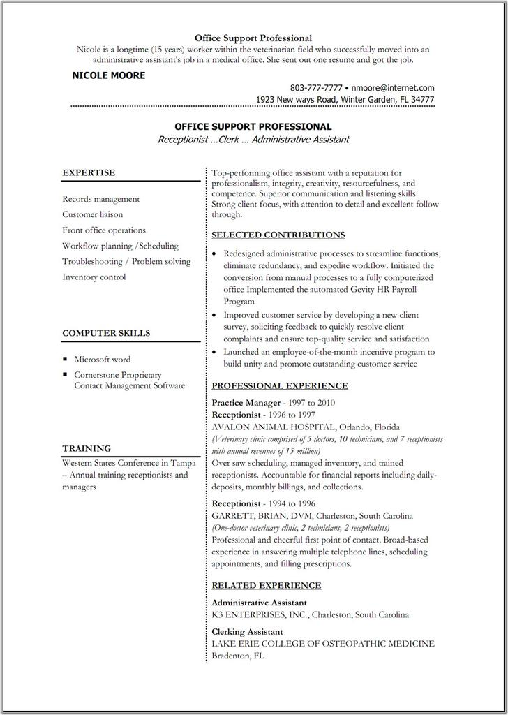 Sample Administrative Assistant Blank Resume Template