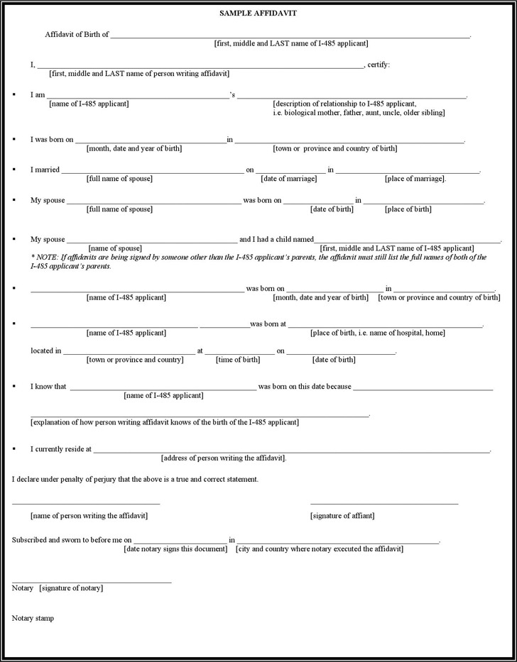 Affidavit Of Birth  Download Free  Premium Templates Forms