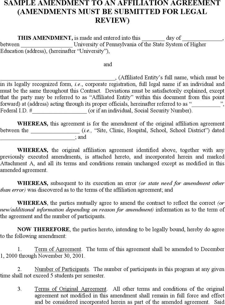 Contract Amendment Template – Sample Contract Amendment Template