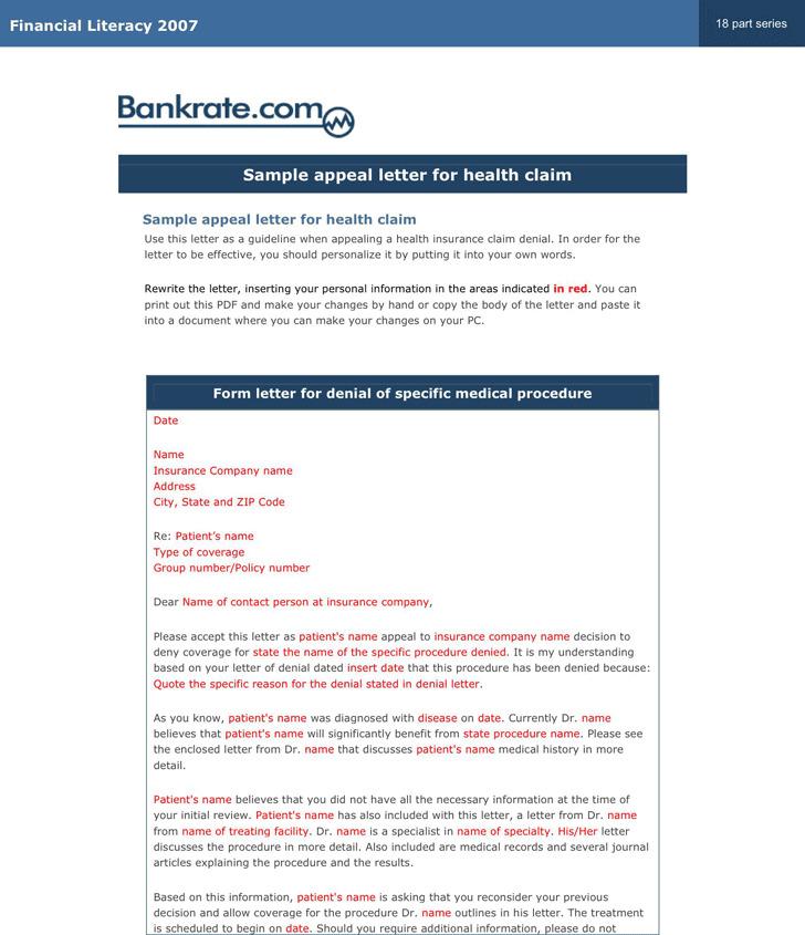 Sample Appeal Letter For Health Claim