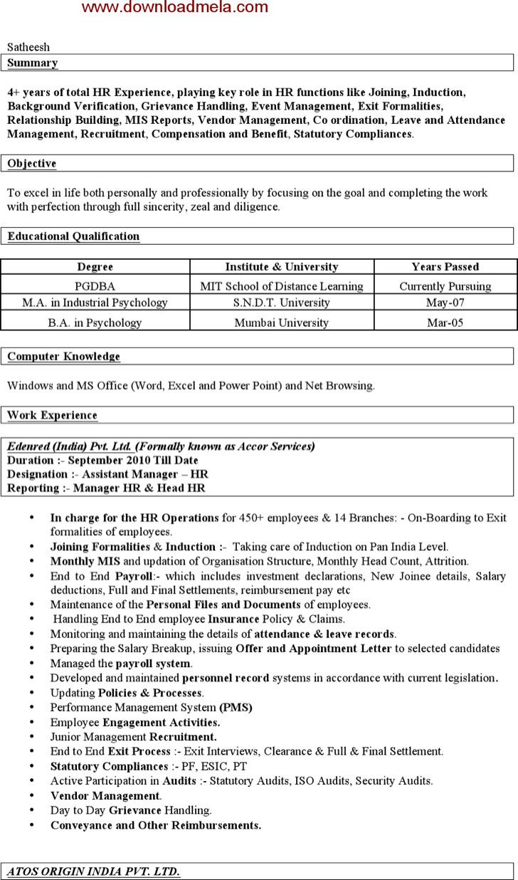 hr resume template free premium templates