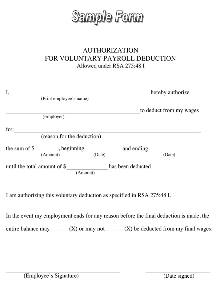 Payroll Deduction Form | Download Free & Premium Templates, Forms ...