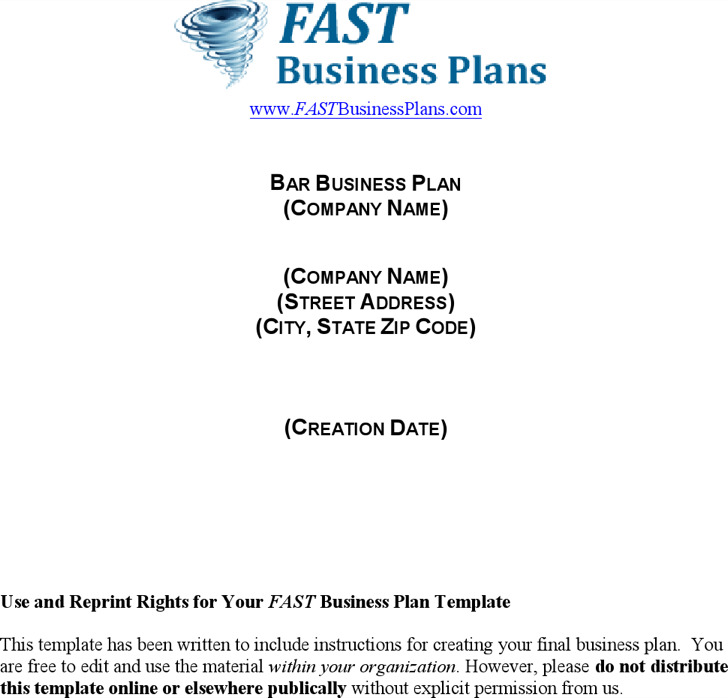 Bar Business Plan Template | Download Free & Premium Templates