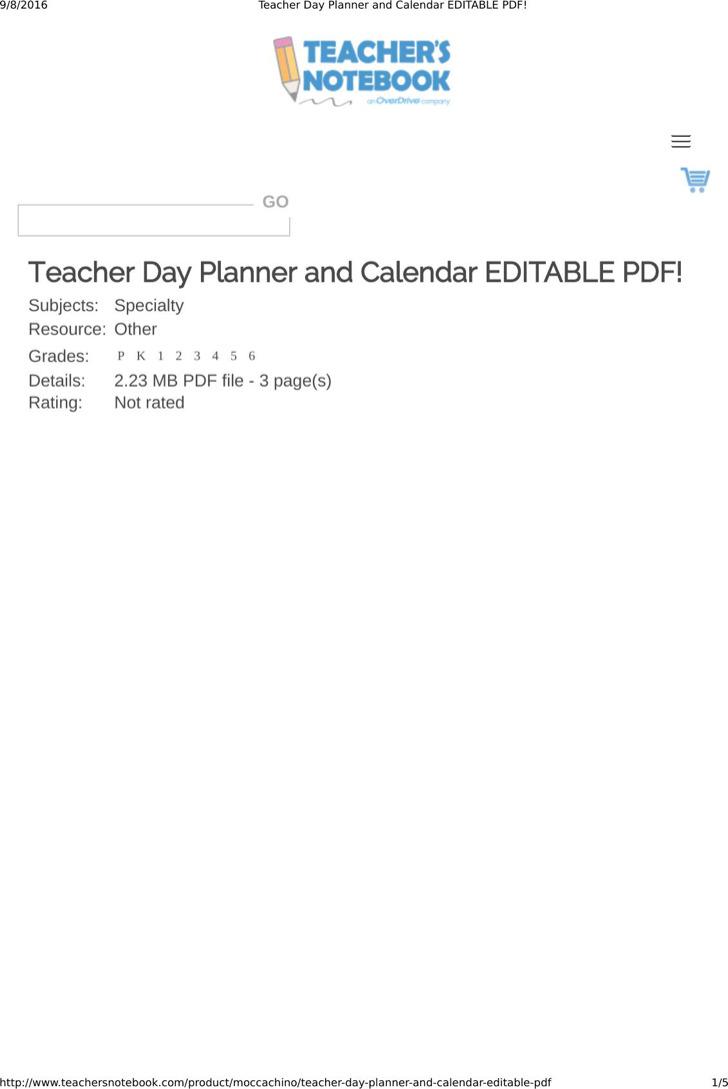 Sample Best Teacher Daily Planner Template