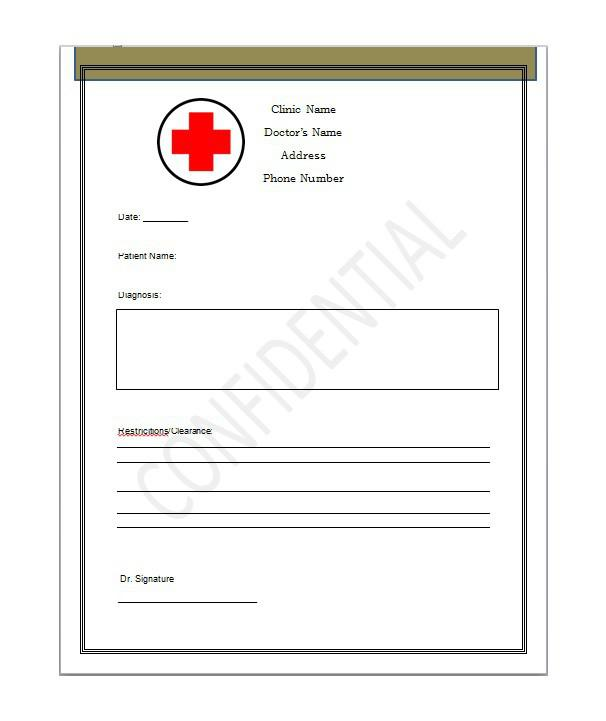 Doctors Note Templates | Download Free & Premium Templates, Forms ...