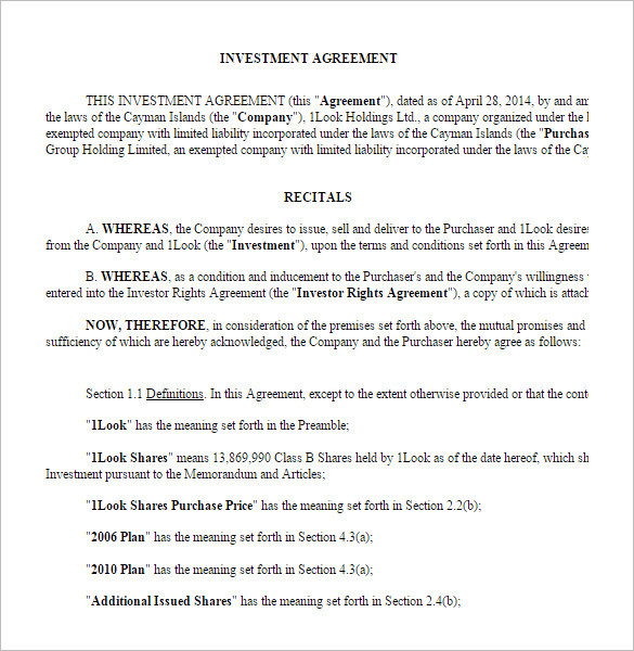 Sample Business Investment Contract Template