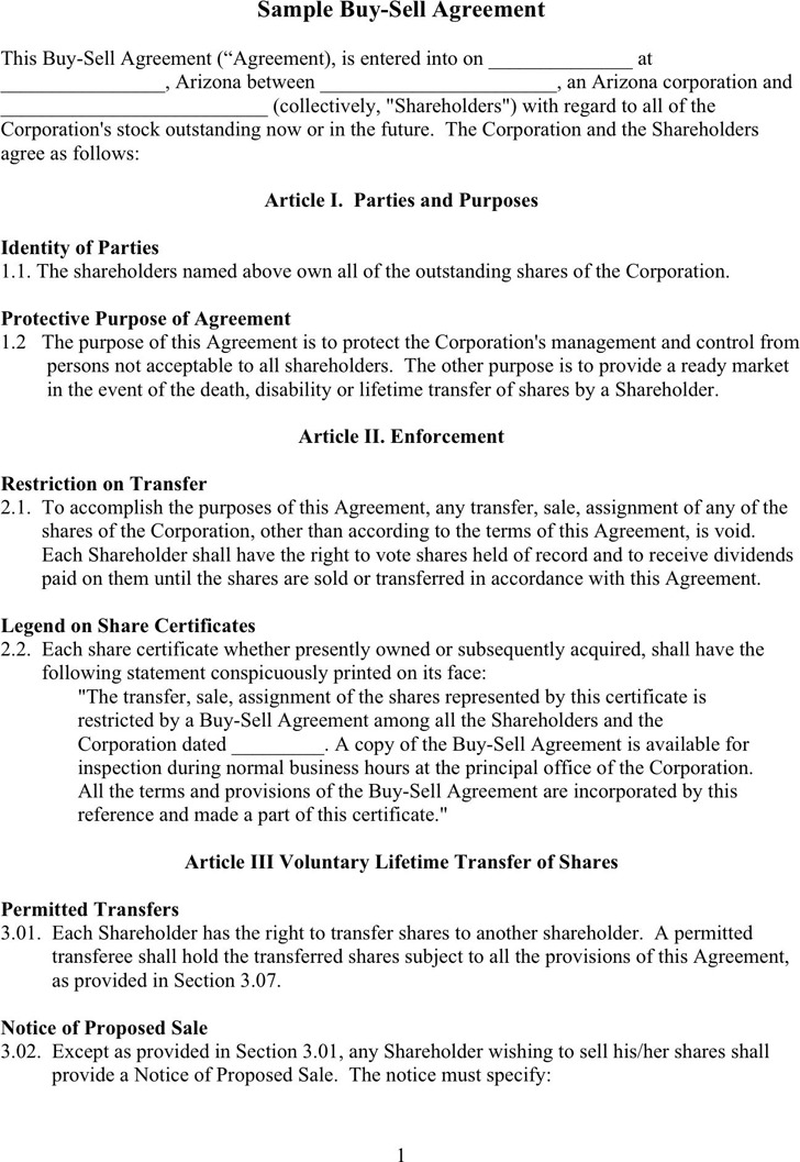Buy Sell Agreement  Download Free  Premium Templates Forms