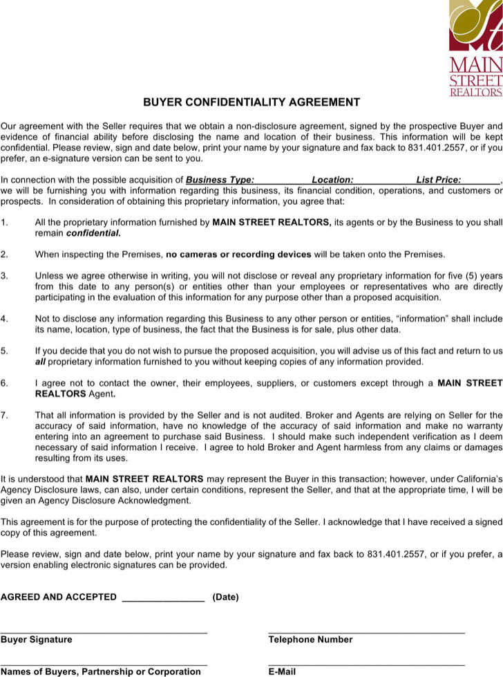Real Estate Confidentiality Agreement Templates  Download Free