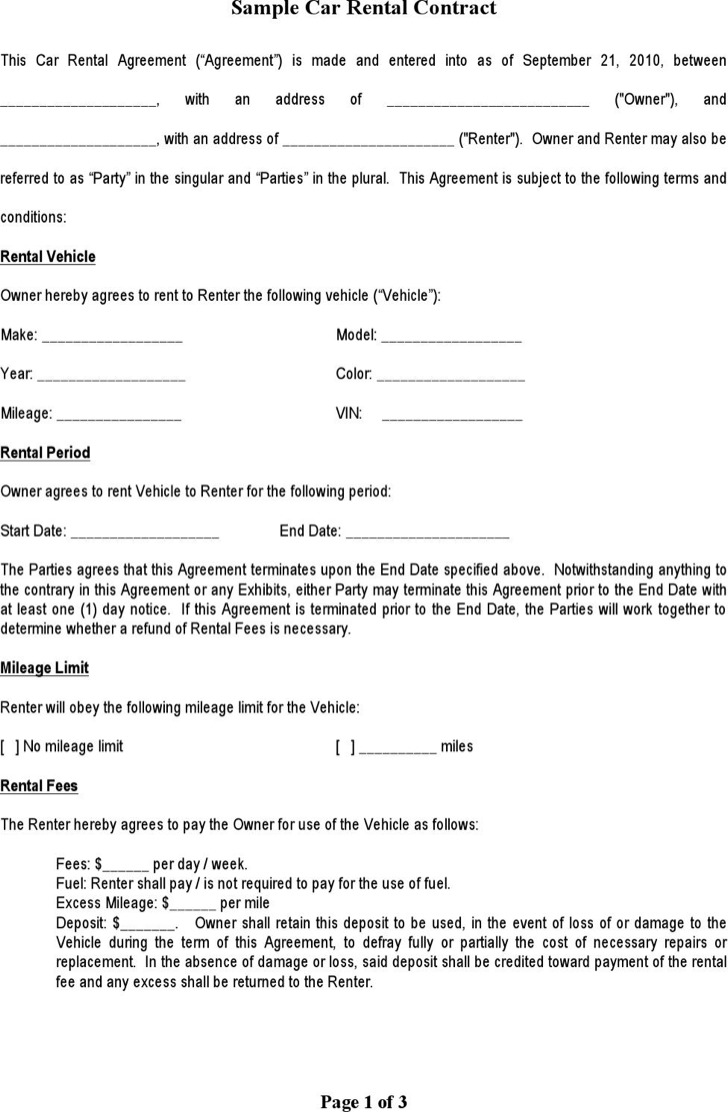Sample Car Rental Agreement Template