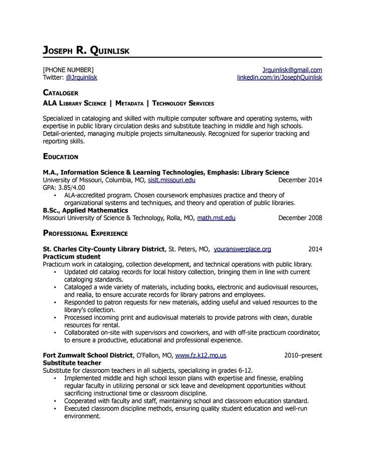 Sample Cataloguer Resume Template