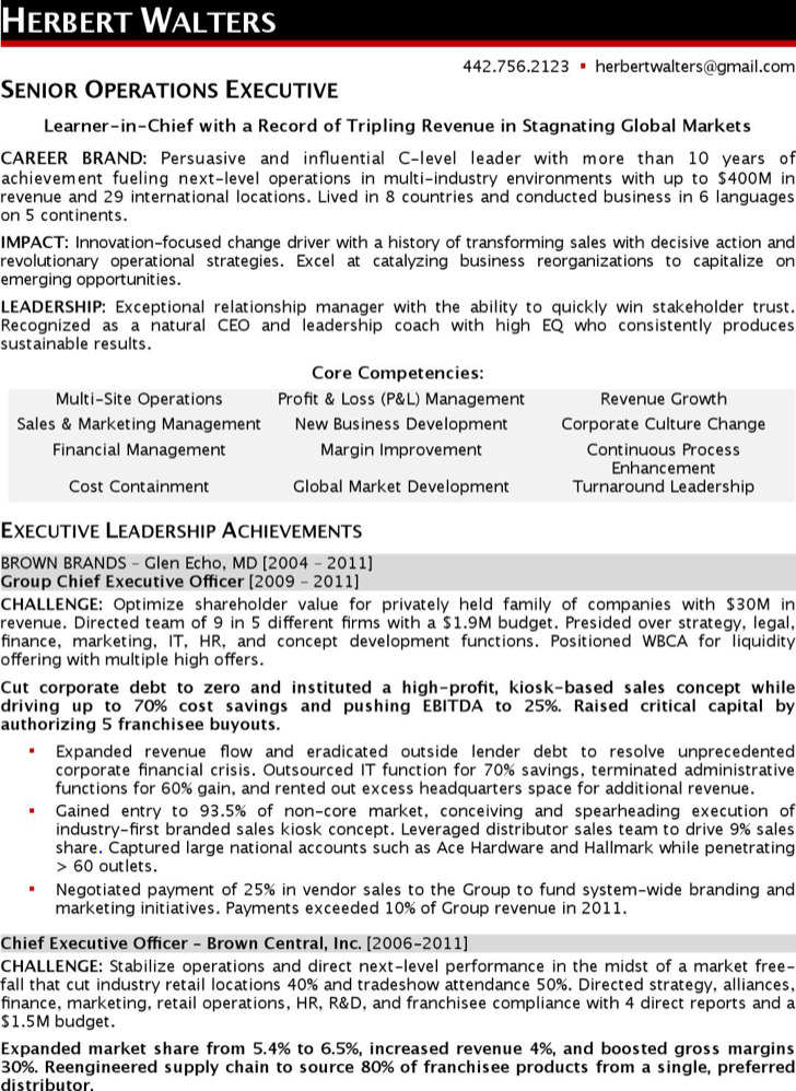 Sample Ceo Resumes  Sample Resume And Free Resume Templates