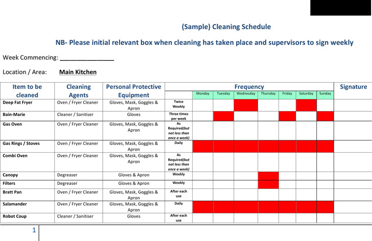 Cleaning Schedule Template – Sample Cleaning Schedule Template