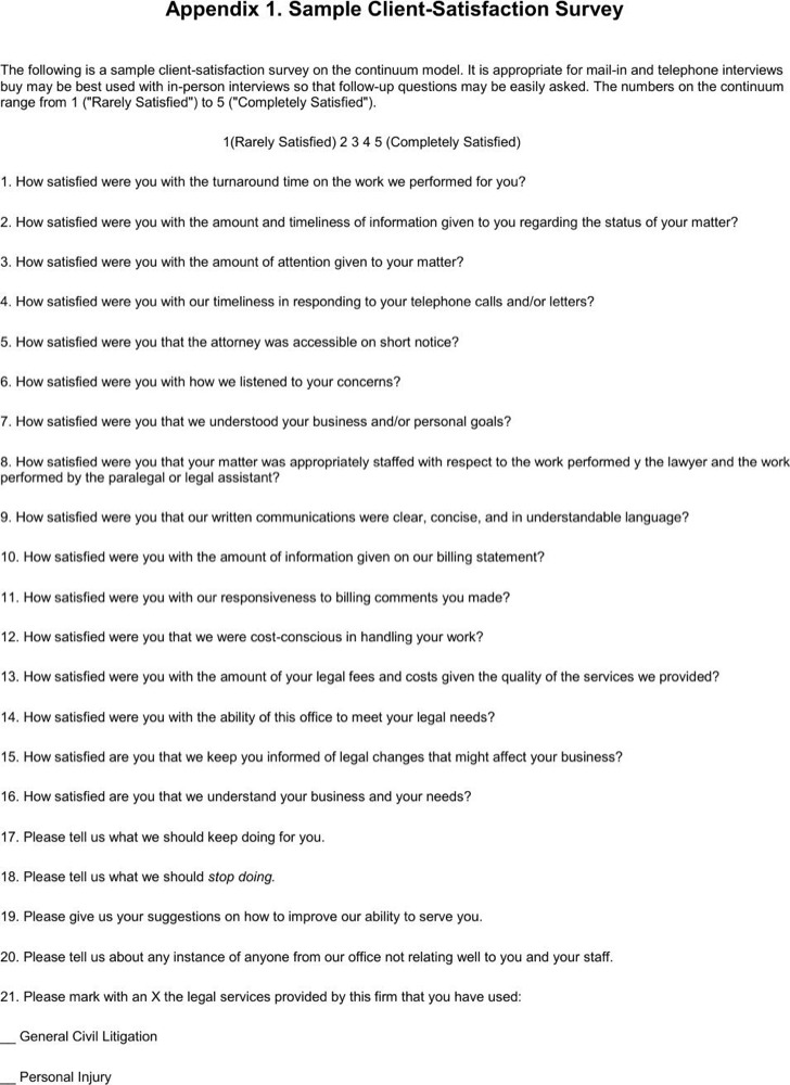 Sample Client Satisfaction Survey Template