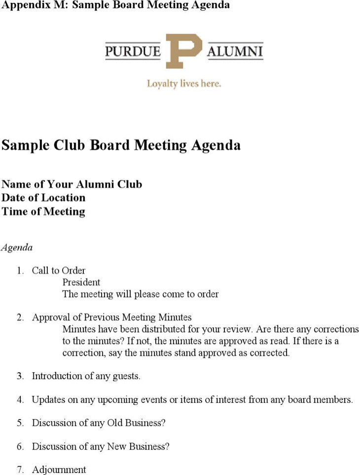 Sample Club Board Meeting Agenda