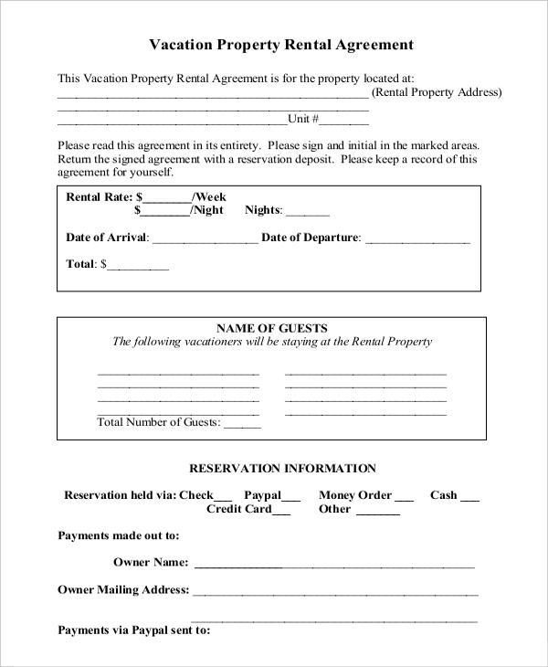 Property Rental Agreement Templates