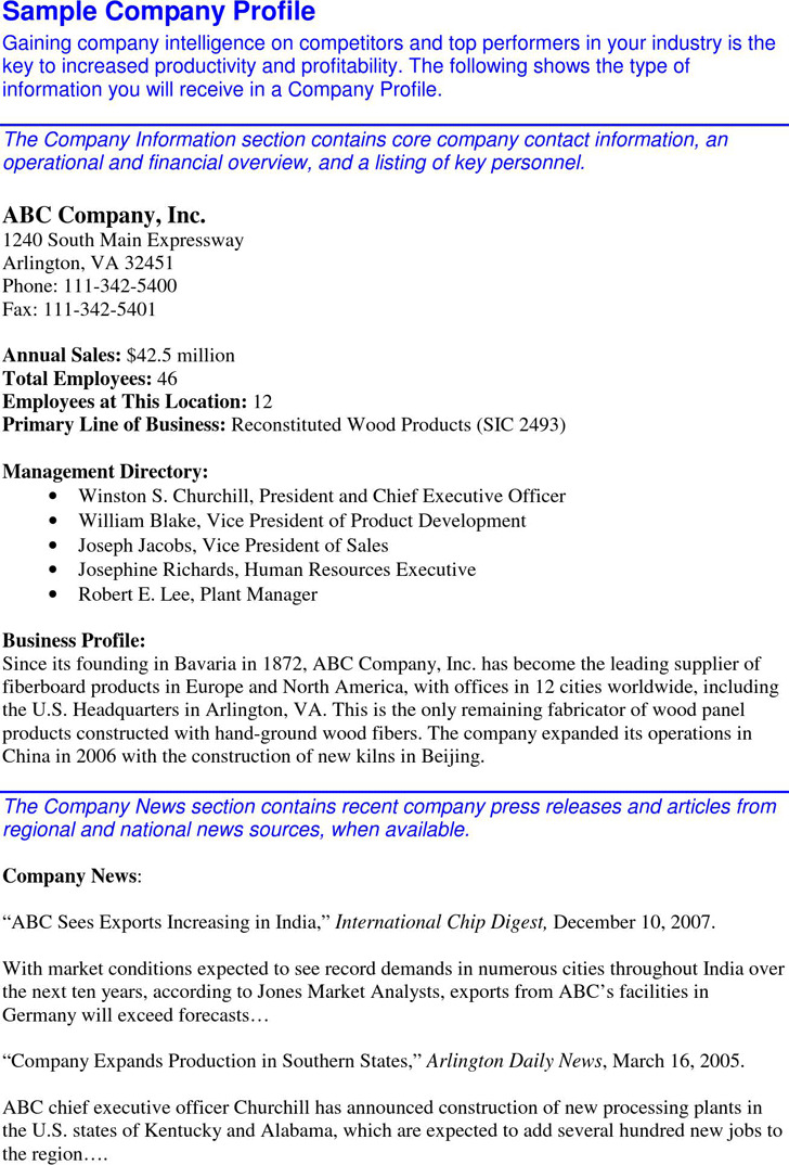 construction company profile sample format