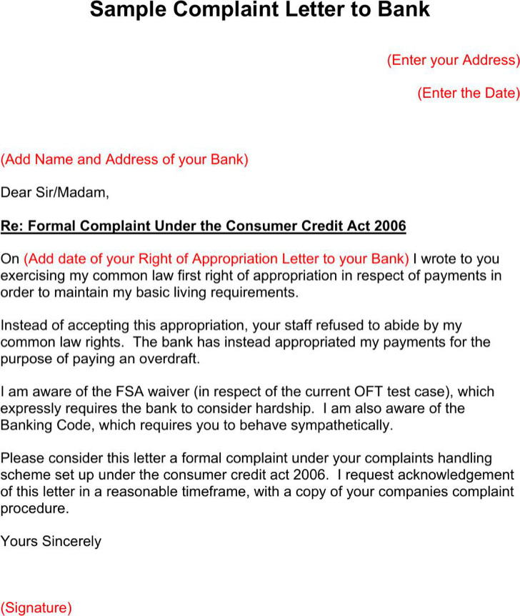 Sample Complaint Letter To Bank Pdf Format