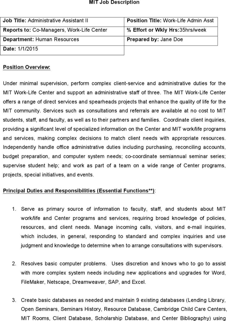 Sample Completed Mit Job Description