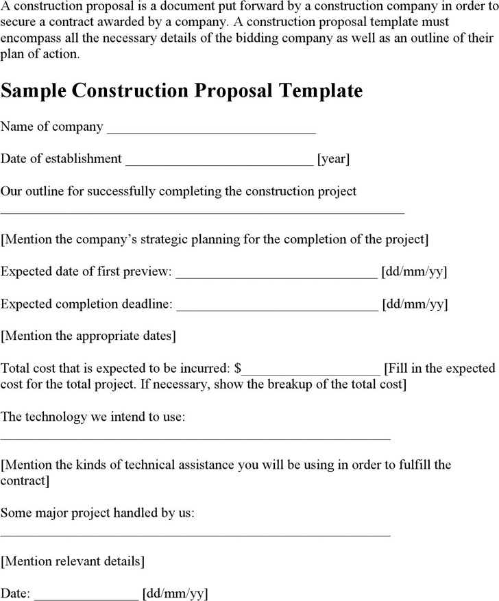 Construction Proposal Template  Download Free  Premium Templates