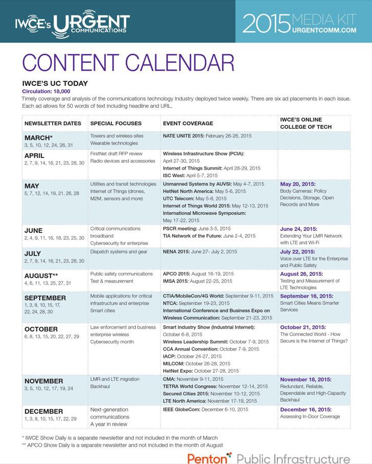 Sample Content Calendar Template